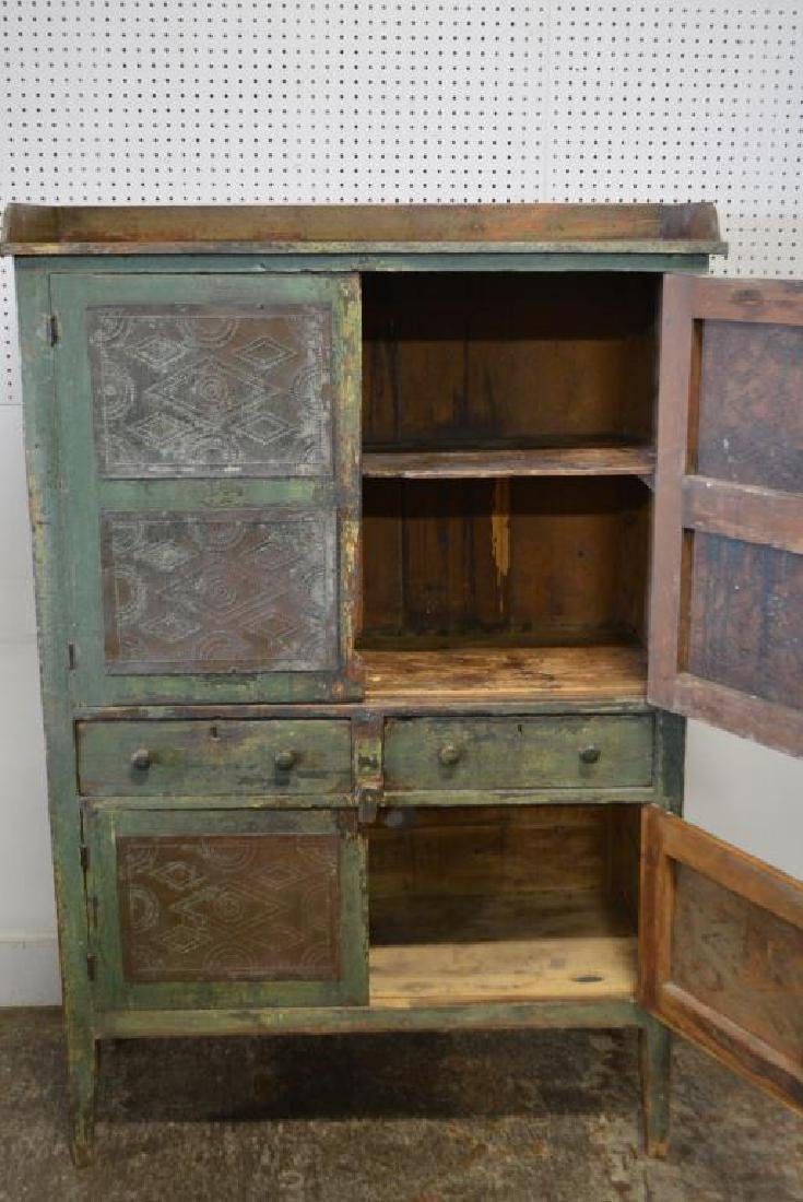 Virginia Pie Safe in old layer painted green - 2
