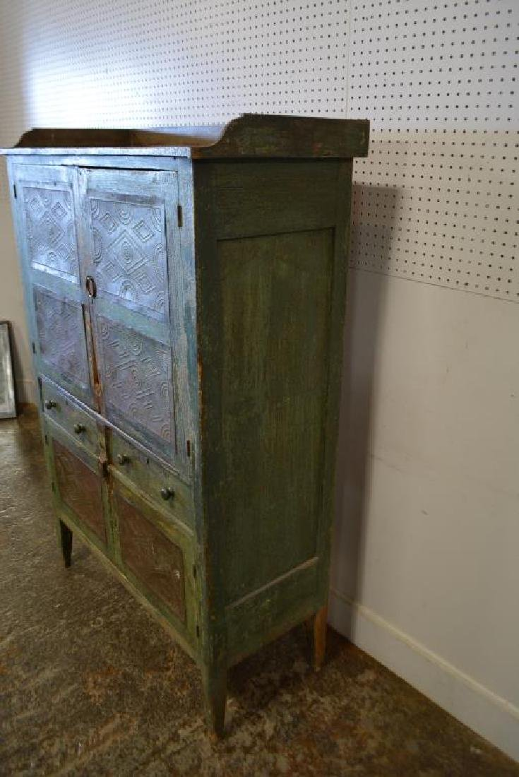 Virginia Pie Safe in old layer painted green - 5