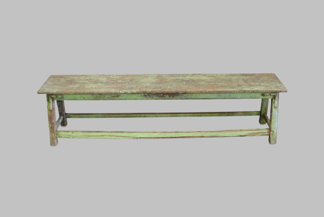 "Apple Green Painted Bench 18""H,   72 1/4""L,   15 1/4""W"