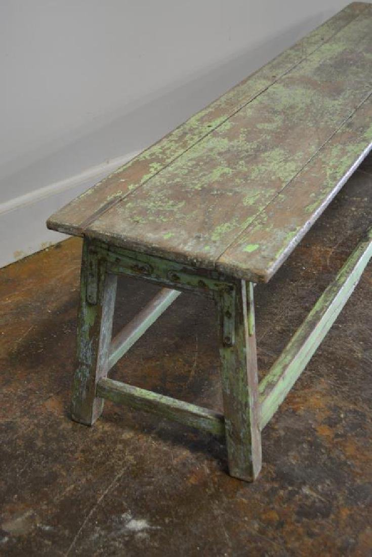 "Apple Green Painted Bench 18""H,   72 1/4""L,   15 1/4""W - 2"