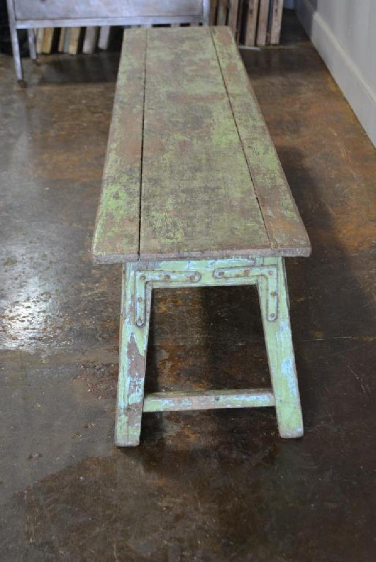 "Apple Green Painted Bench 18""H,   72 1/4""L,   15 1/4""W - 3"