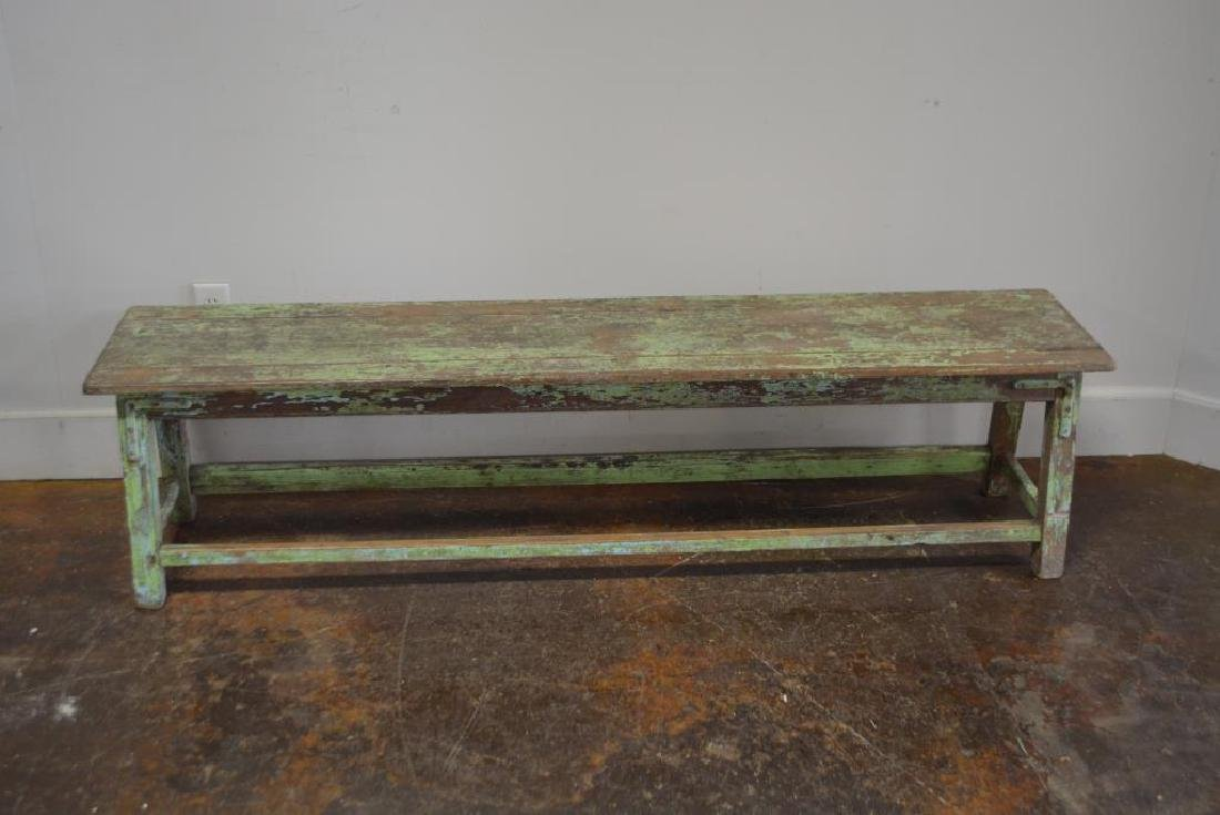 "Apple Green Painted Bench 18""H,   72 1/4""L,   15 1/4""W - 4"