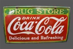 "Coca - Cola Drug Store Sign     -    porcelain 54""  x"