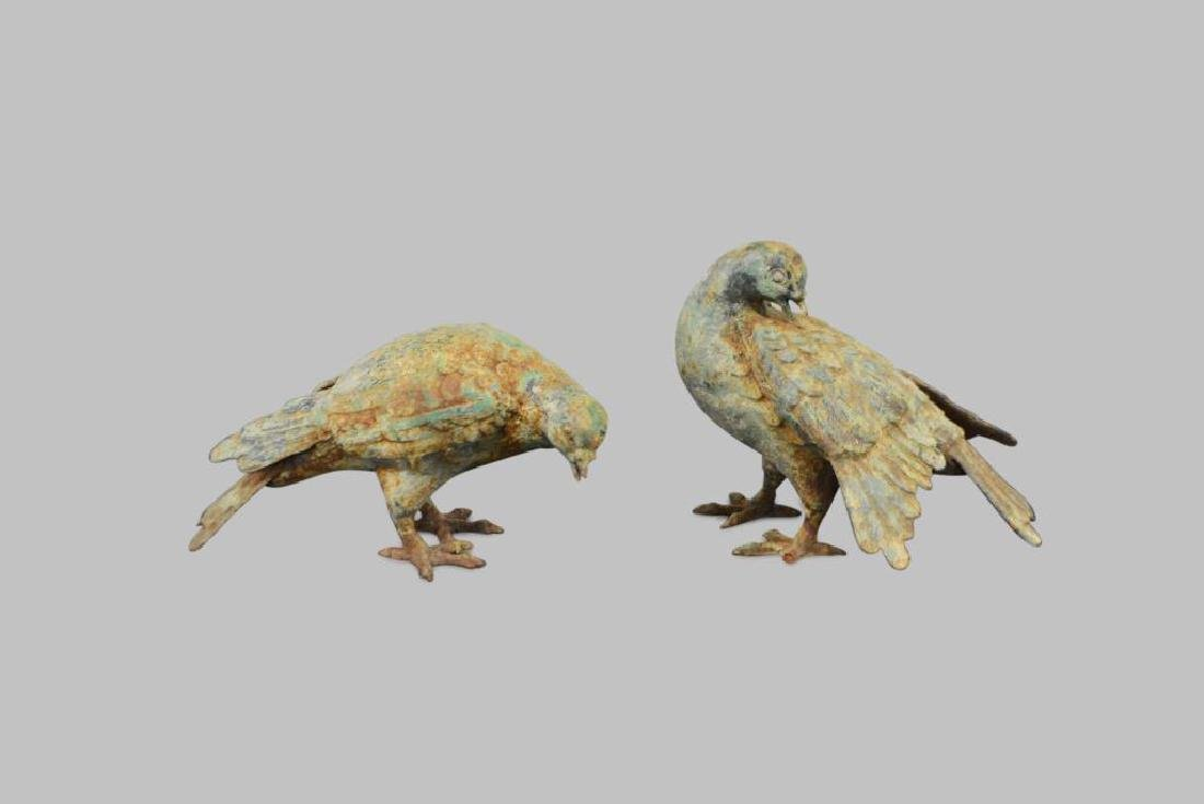 "Pair of Cast Iron Birds 6""H,   8""  x   5 1/2""        /"