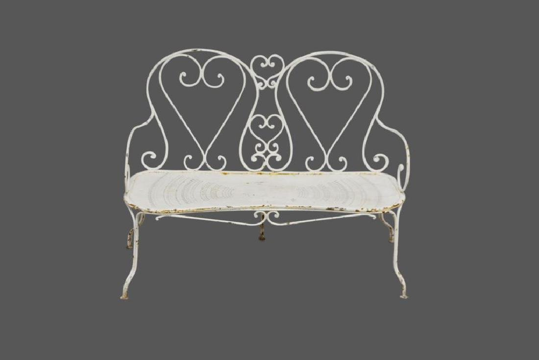 """French Metal Settee 35 1/2""""H,   49 1/2""""L(feet),"""