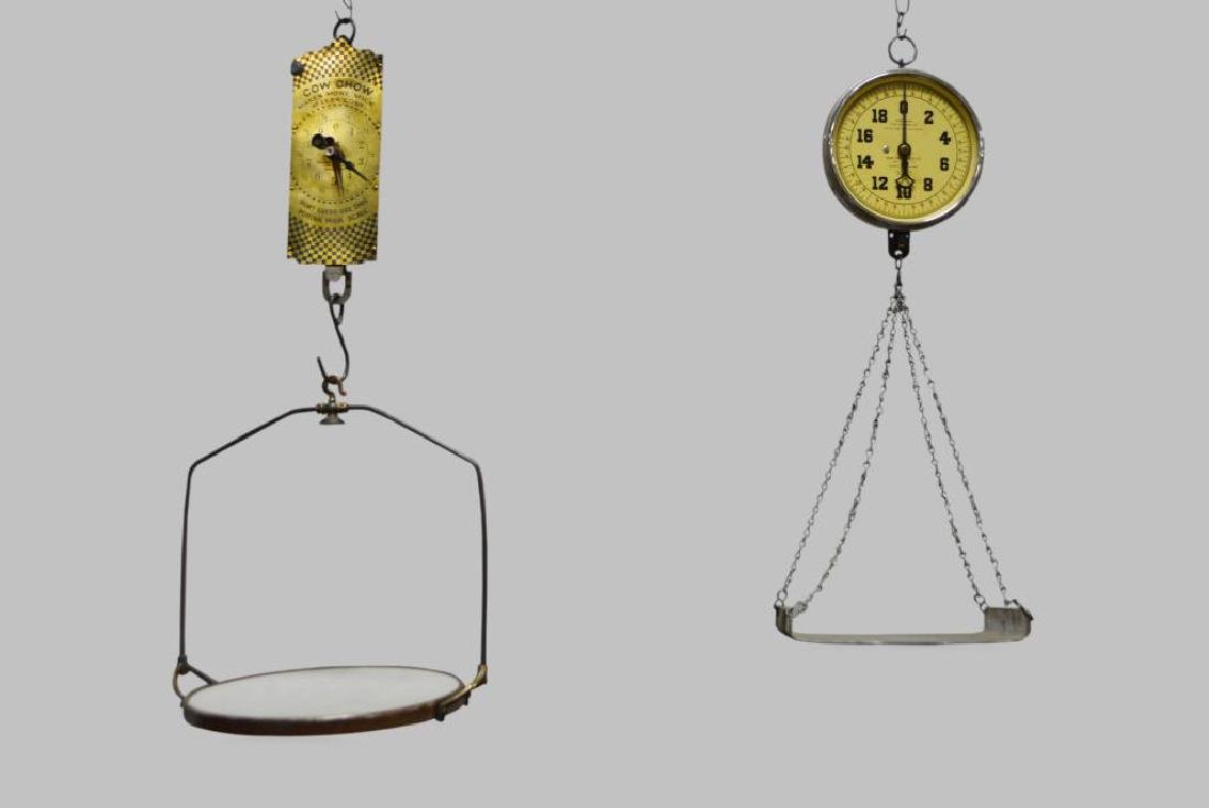 "2pc. Lot of Hanging General Store Scales 33 1/2""H"
