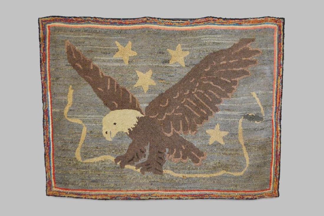 "Early Pa. Eagle Hooked Rug 48 1/2""  x   37"""