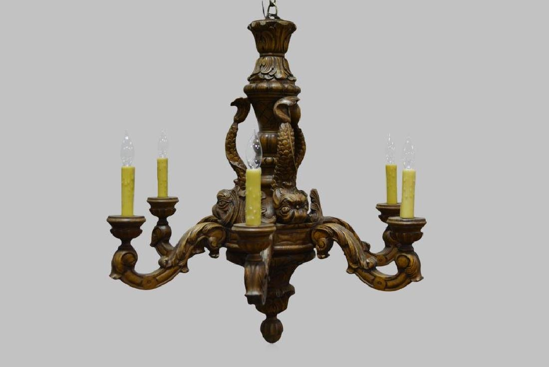 "Carved Wooden French 6-Light Chandelier 28 1/2""H,   30"""