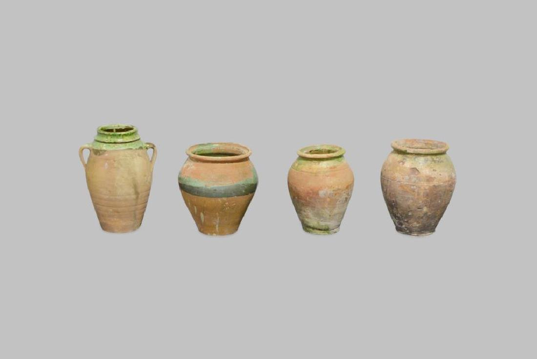 """4pc. Lot of Early Pottery Olive Jars 10 3/4""""H   /   9"""