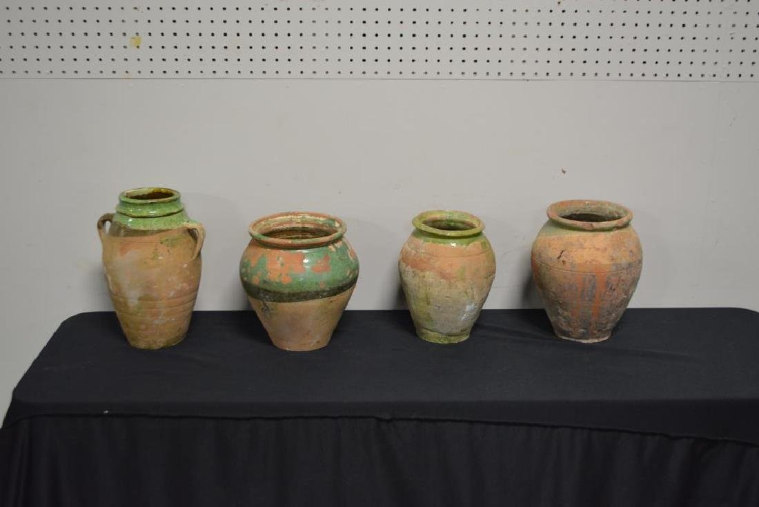 "4pc. Lot of Early Pottery Olive Jars 10 3/4""H   /   9 - 2"