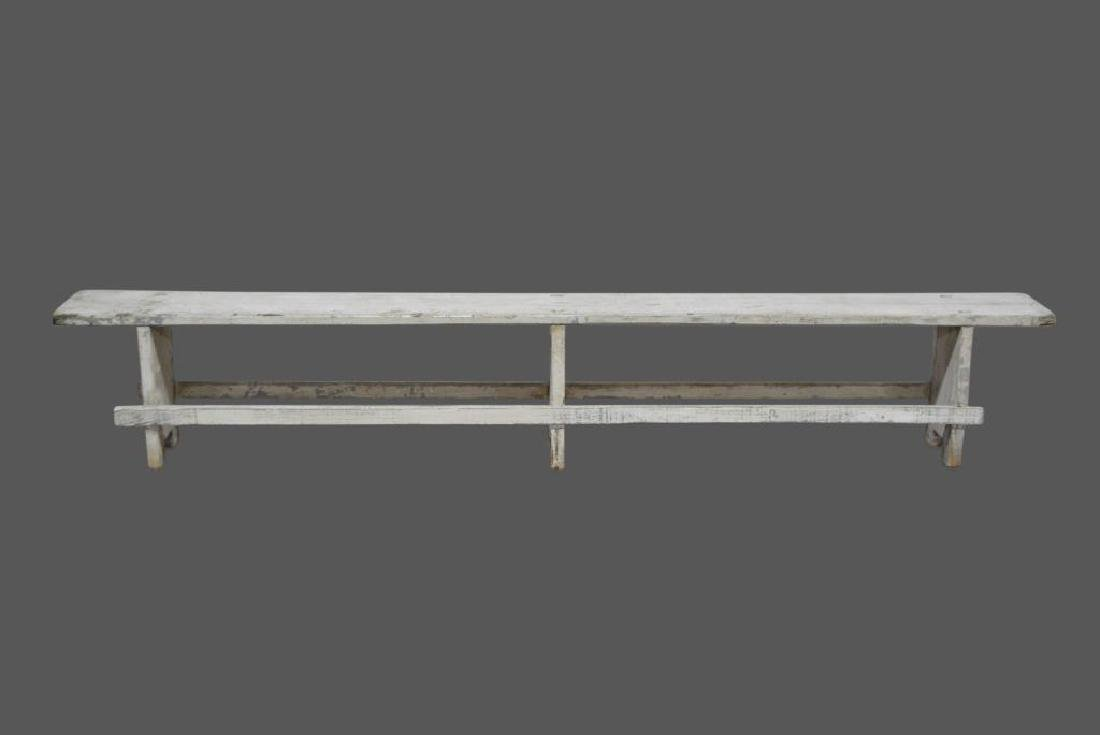 """Painted Mortised Bench 19 3/4""""H,   118 1/4""""L,   12""""W"""