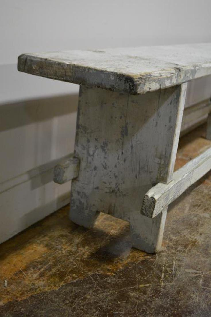 """Painted Mortised Bench 19 3/4""""H,   118 1/4""""L,   12""""W - 2"""