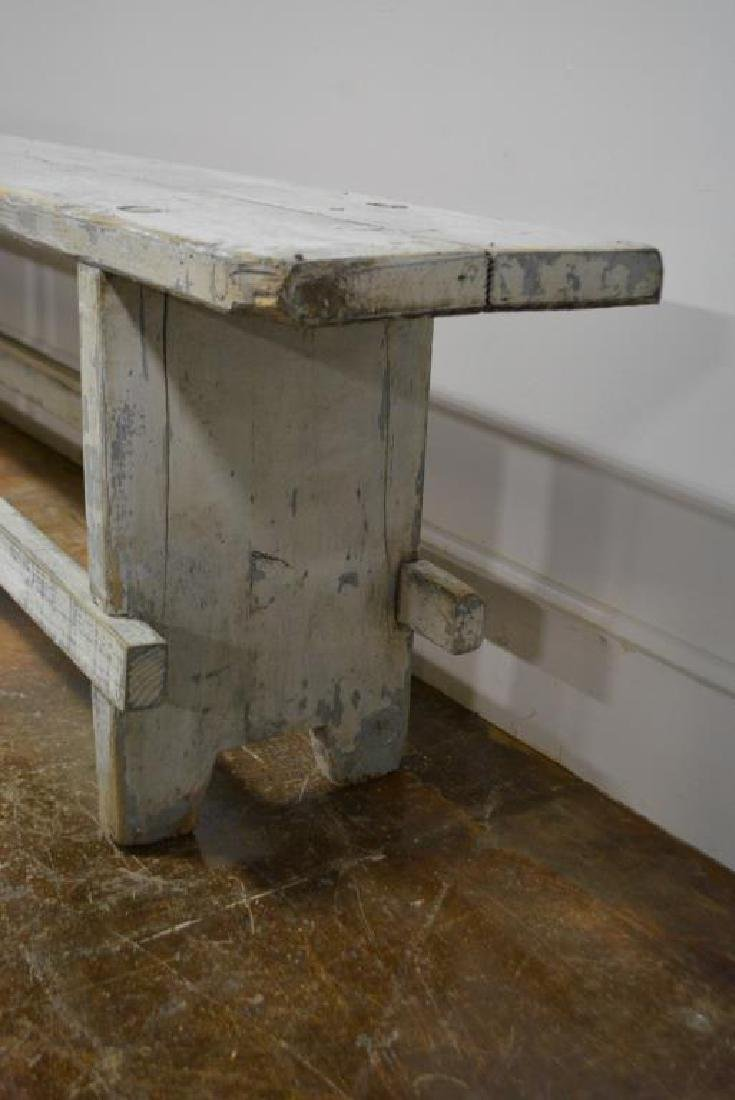 """Painted Mortised Bench 19 3/4""""H,   118 1/4""""L,   12""""W - 3"""