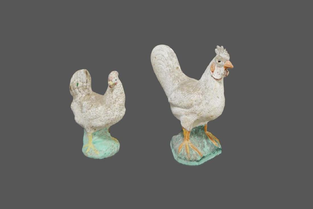 "2pc. Lot -  Concrete Rooster and Chicken 19 1/2""H,"