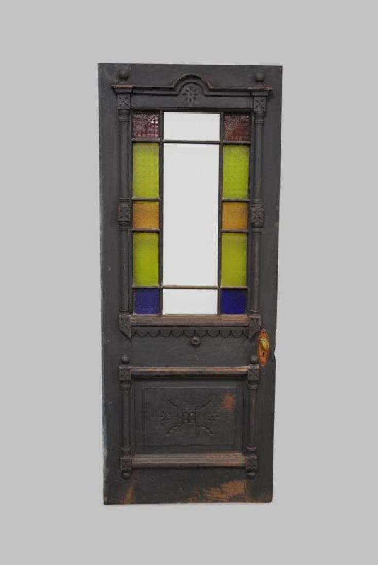 "Architectural Painted Door w/ Stain Glass 79""  x   31"