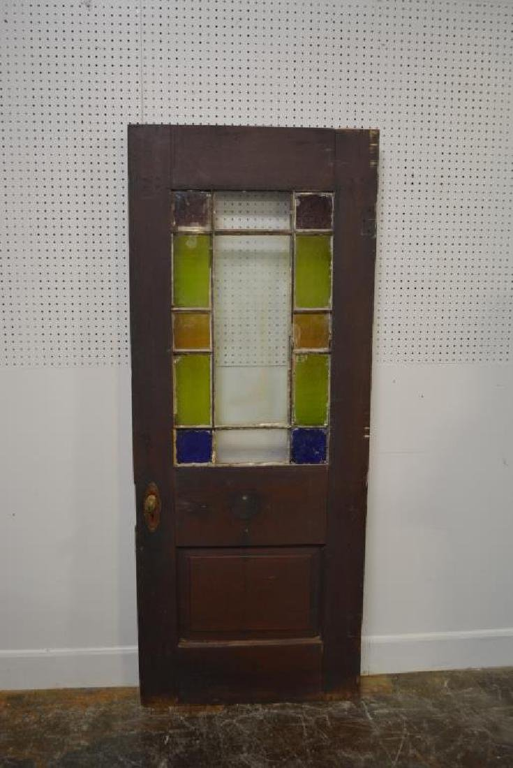 "Architectural Painted Door w/ Stain Glass 79""  x   31 - 4"