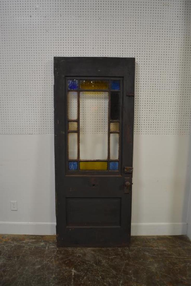 """Architectural Painted Door w/ Stain Glass 80 1/4""""  x - 4"""