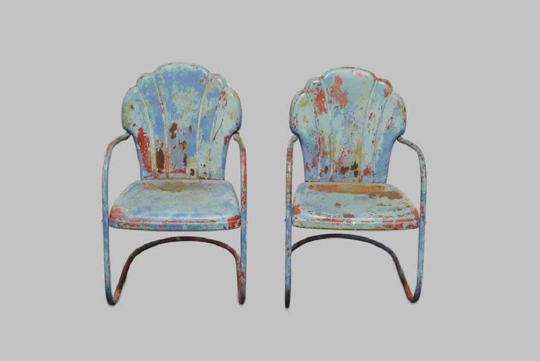 "Metal Garden Chair in Old Layered Paint 33 1/2""H,   20"