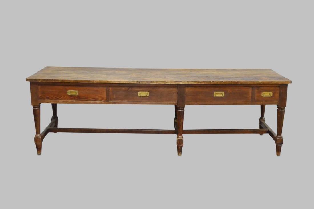 """19th C. Draiper's Table 31 1/4""""H,   102""""L,   34 1/2""""W"""