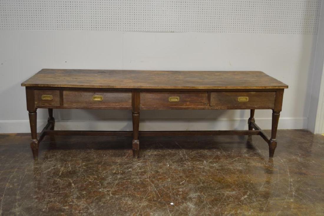 """19th C. Draiper's Table 31 1/4""""H,   102""""L,   34 1/2""""W - 6"""