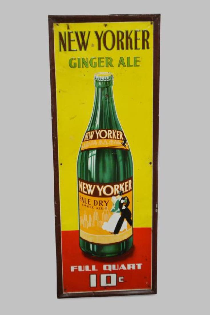 """New Yorker Ginger Ale Sign   -  metal 41 1/2""""  x   15"""""""