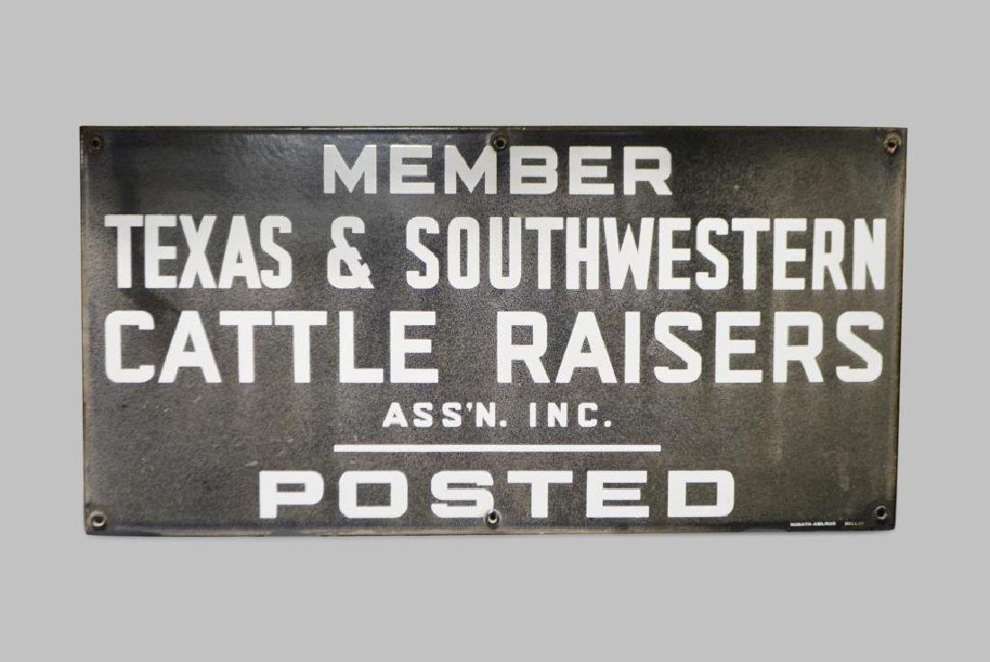 Texas & Southwestern Cattle Raisers Sign porcelain
