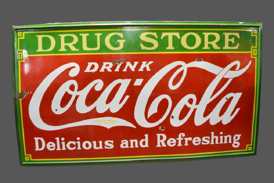 "Coca - Cola Drug Store Sign   -   porcelain 54""  x   96"