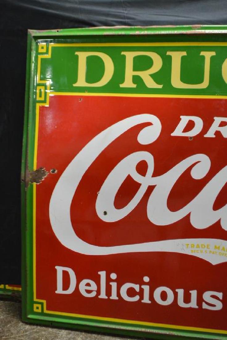 "Coca - Cola Drug Store Sign   -   porcelain 54""  x   96 - 2"