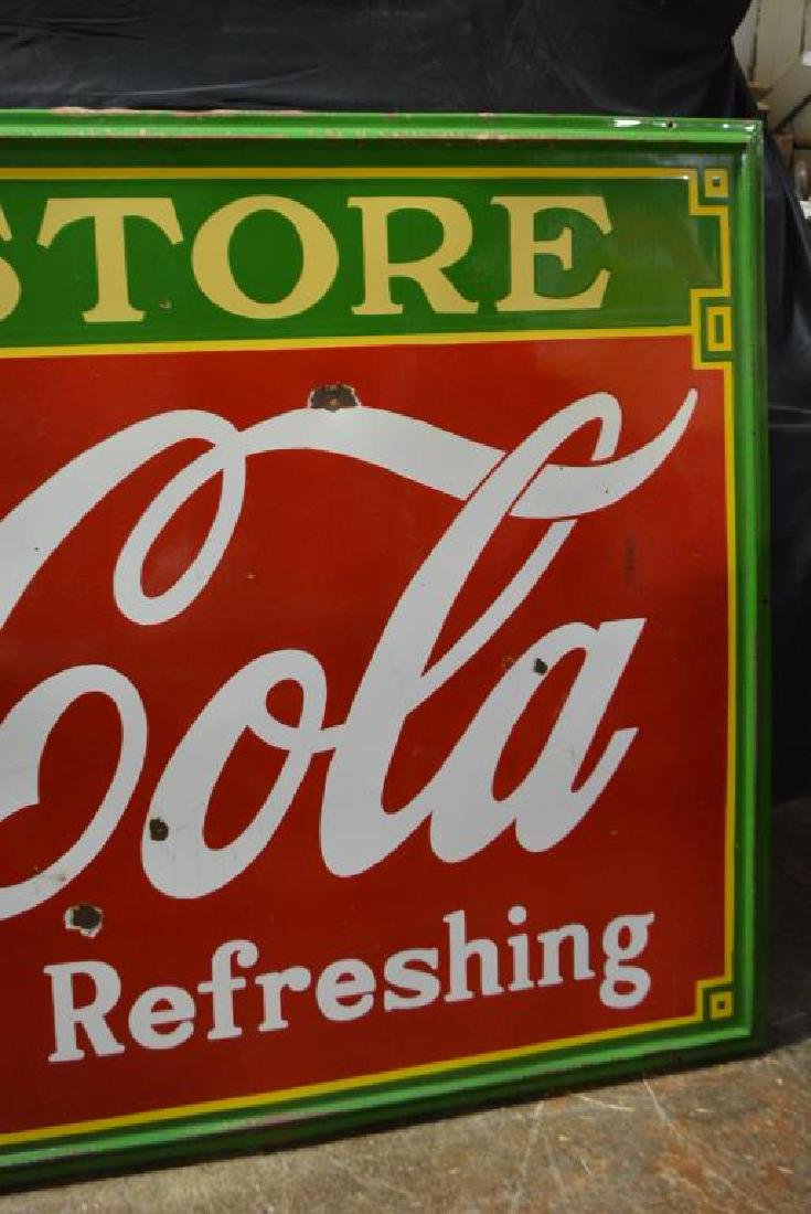 "Coca - Cola Drug Store Sign   -   porcelain 54""  x   96 - 4"