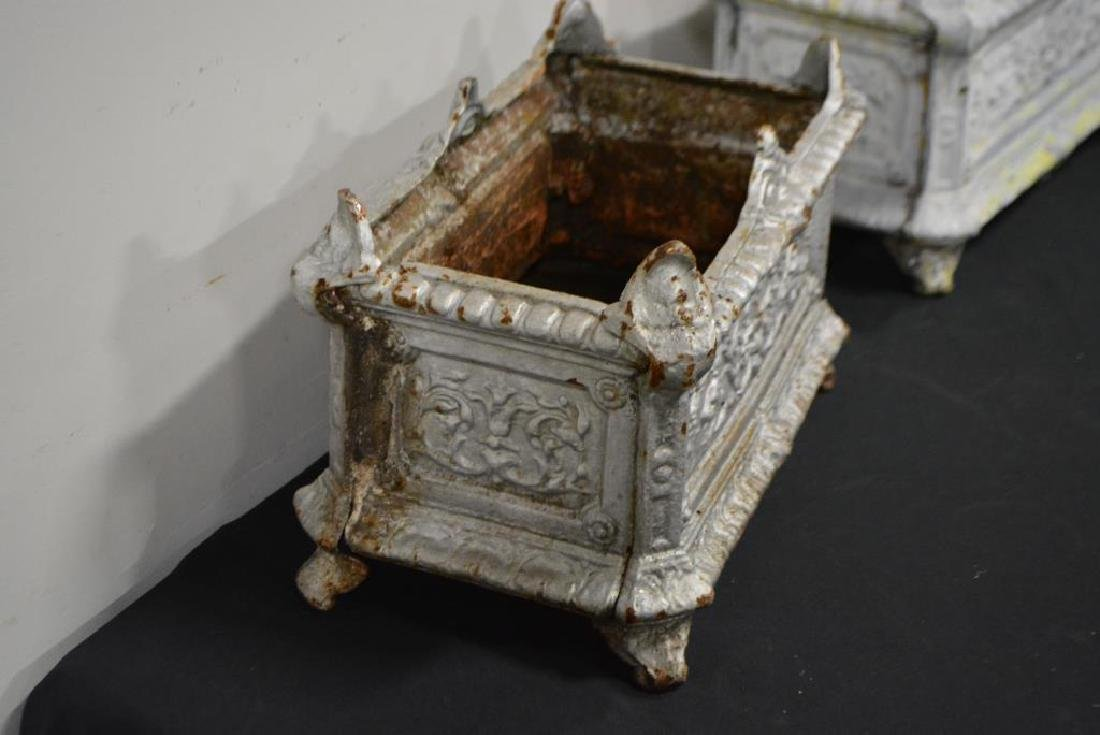 """French Painted Cast Iron Urn X-2 10 1/2""""H,   17""""L, - 3"""