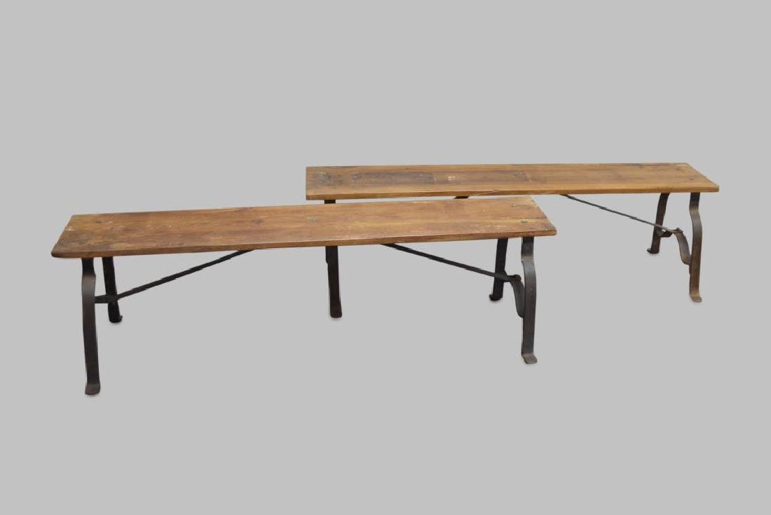 """Industrial Wood and Metal Bench X-2 18""""H,   63""""L,"""