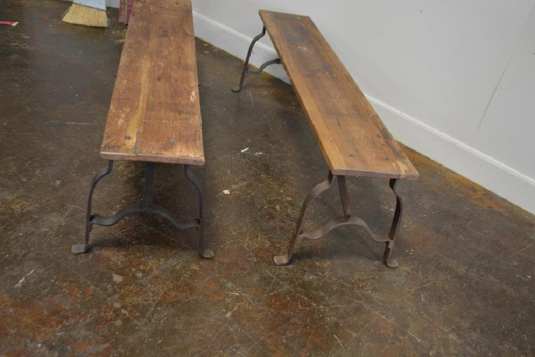 "Industrial Wood and Metal Bench X-2 18""H,   63""L, - 2"