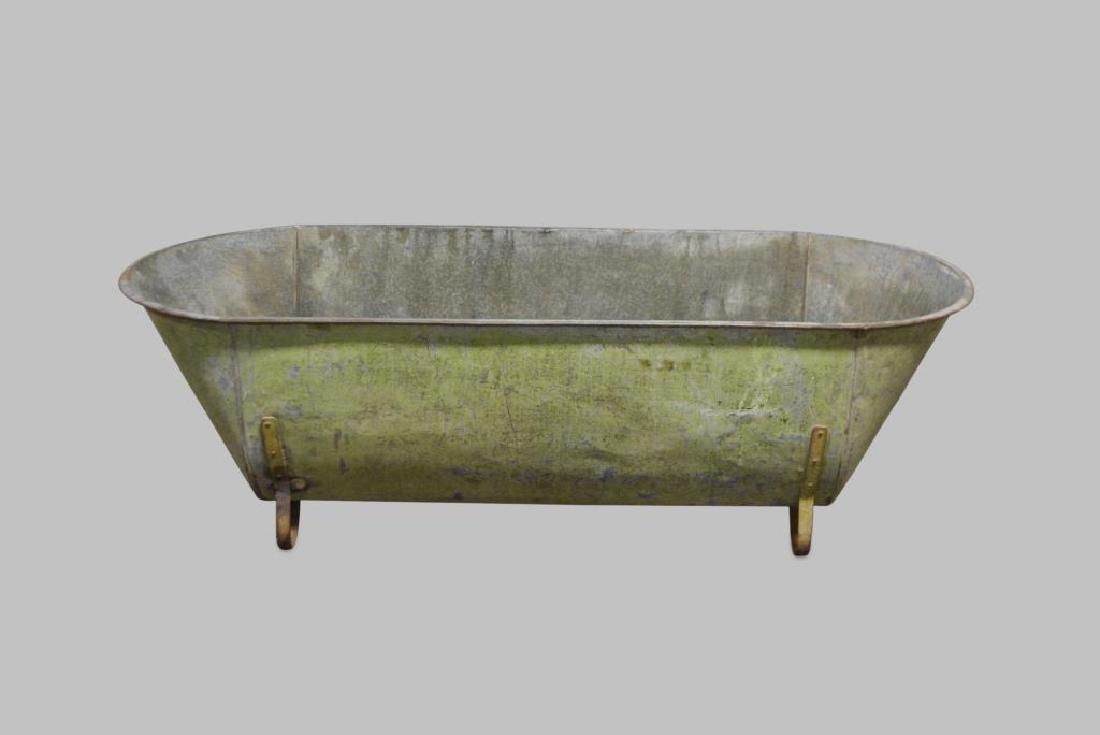 """French Zinc Tub 18 1/4""""H,   58""""L,   24""""W"""