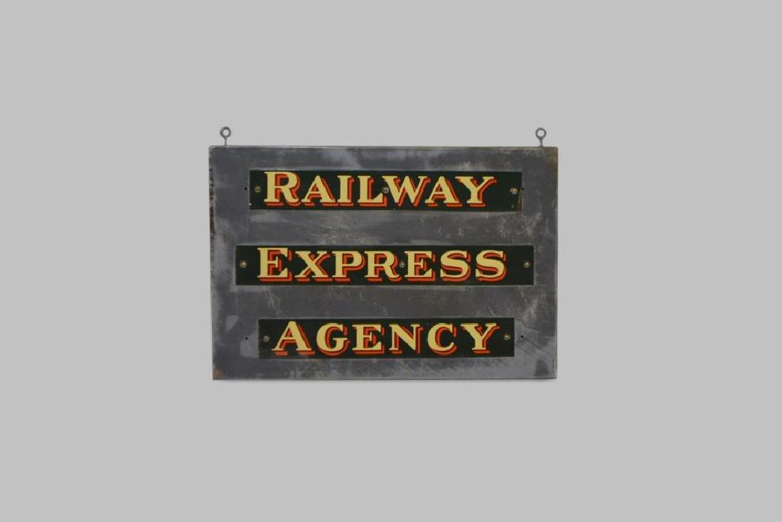"Railway Express Agency Sign 24"",   26""(w/ eyebolt)  x"