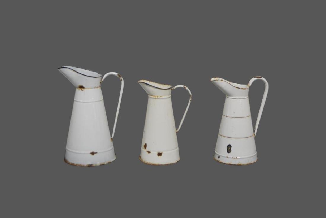 """3pc. Porcelain Pitchers 17 1/4""""H    /    14 3/4""""H    /"""
