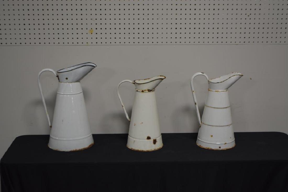 """3pc. Porcelain Pitchers 17 1/4""""H    /    14 3/4""""H    / - 2"""