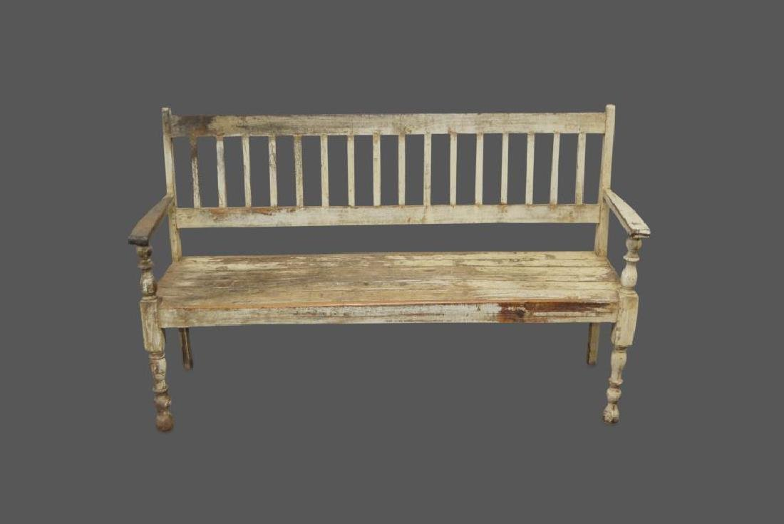 """Early Painted Bench 39 3/4""""H,   64 1/4""""L,   22""""W"""