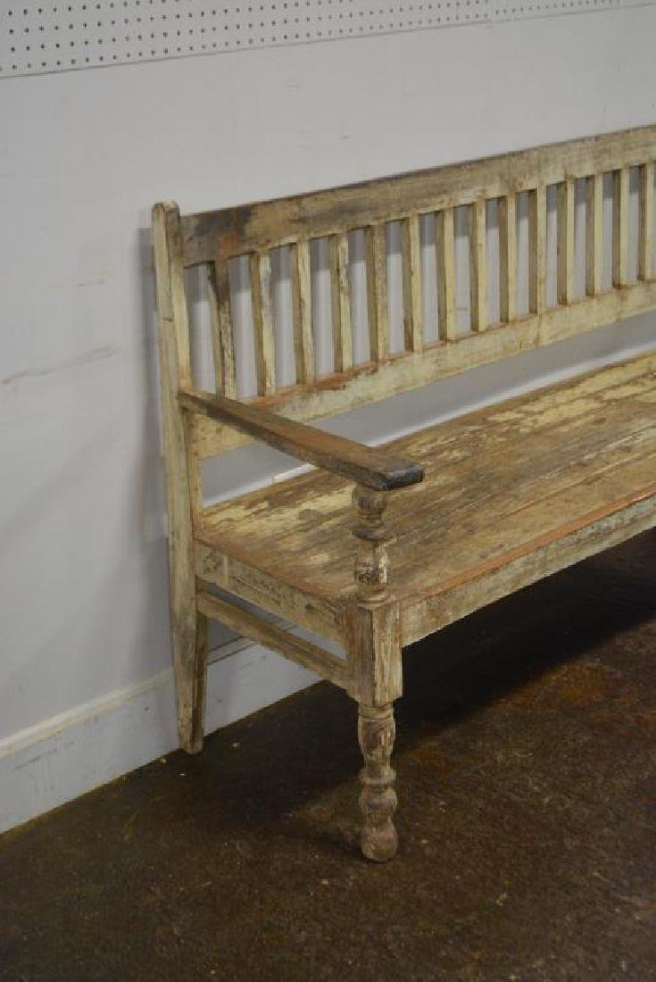 """Early Painted Bench 39 3/4""""H,   64 1/4""""L,   22""""W - 2"""