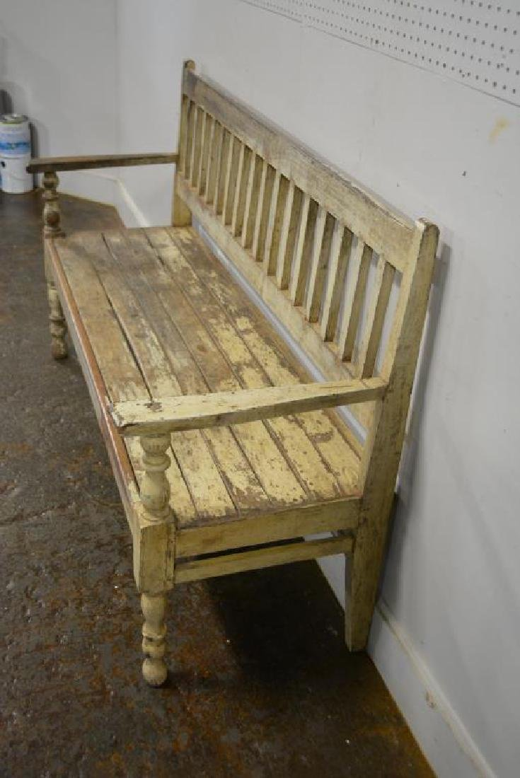 """Early Painted Bench 39 3/4""""H,   64 1/4""""L,   22""""W - 3"""