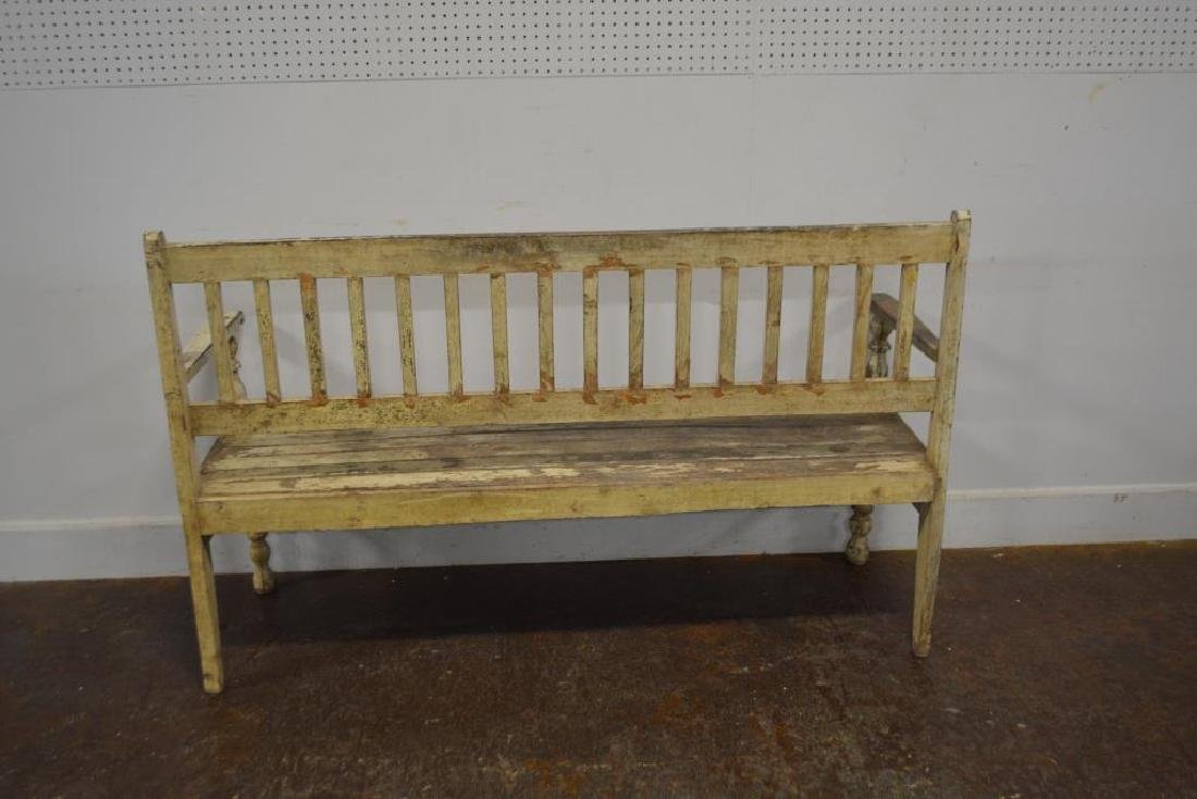 """Early Painted Bench 39 3/4""""H,   64 1/4""""L,   22""""W - 4"""