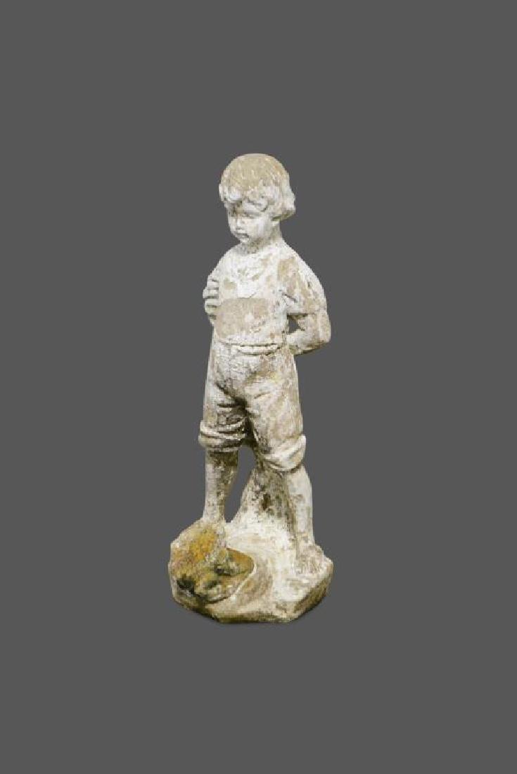 """Concrete Statue  -  Boy w/ Frog 20""""H,   8""""  x   7 1/2"""""""