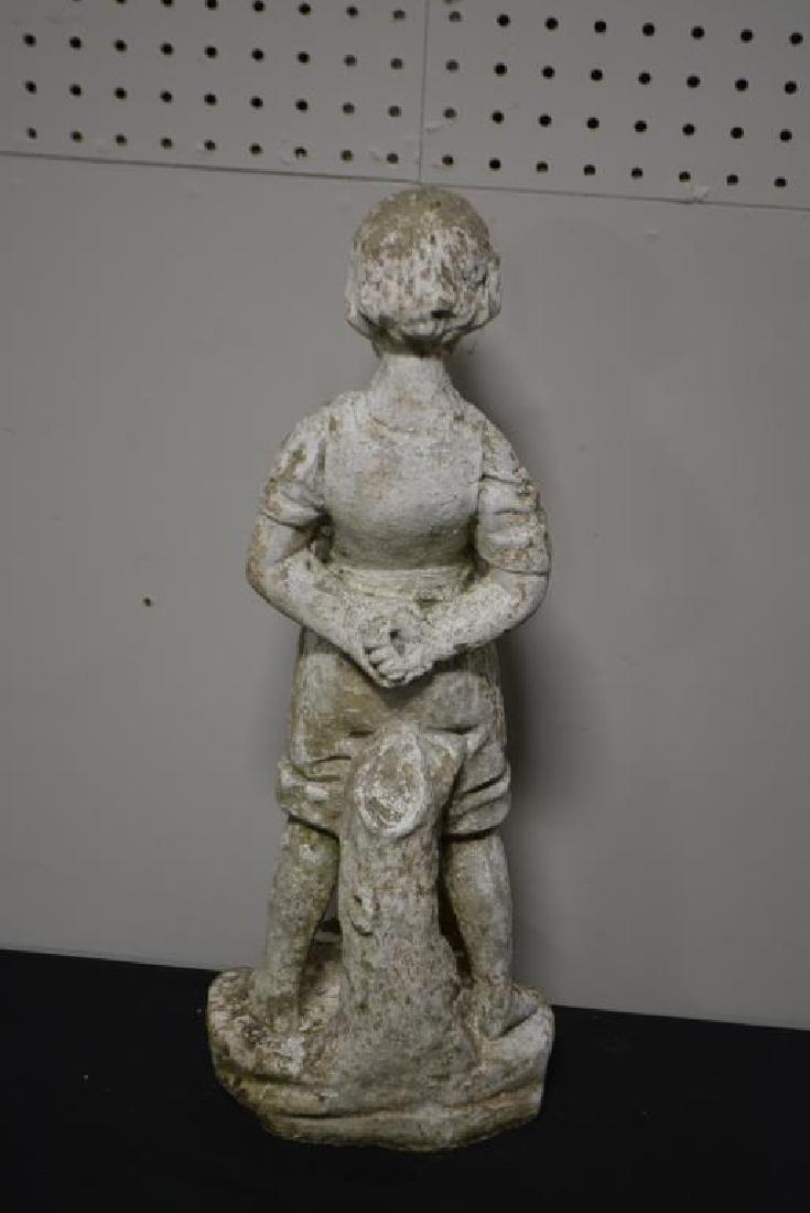 """Concrete Statue  -  Boy w/ Frog 20""""H,   8""""  x   7 1/2"""" - 3"""