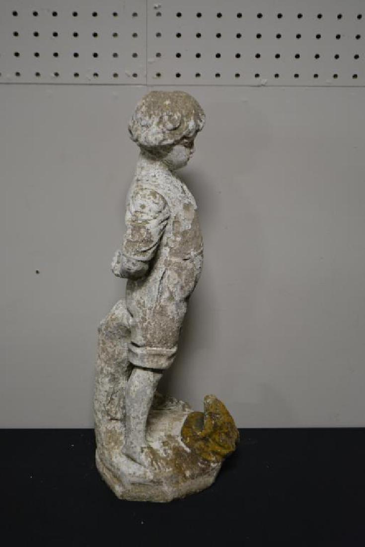 """Concrete Statue  -  Boy w/ Frog 20""""H,   8""""  x   7 1/2"""" - 4"""