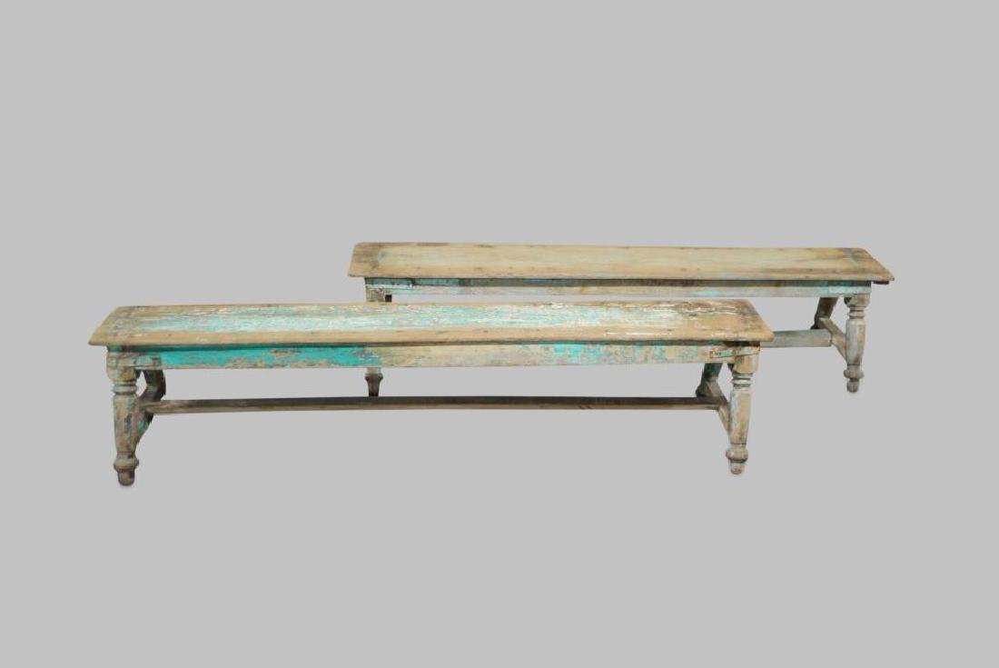 "Turned Leg Painted Bench X-2 17""H,   78 1/4""L,   18""W"
