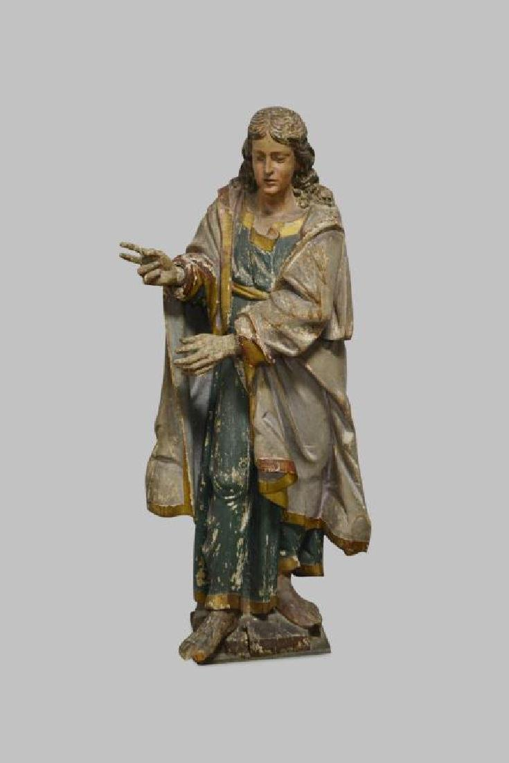 """Late 18th C. Wooden Religious Statue 52""""H,   22""""  x"""
