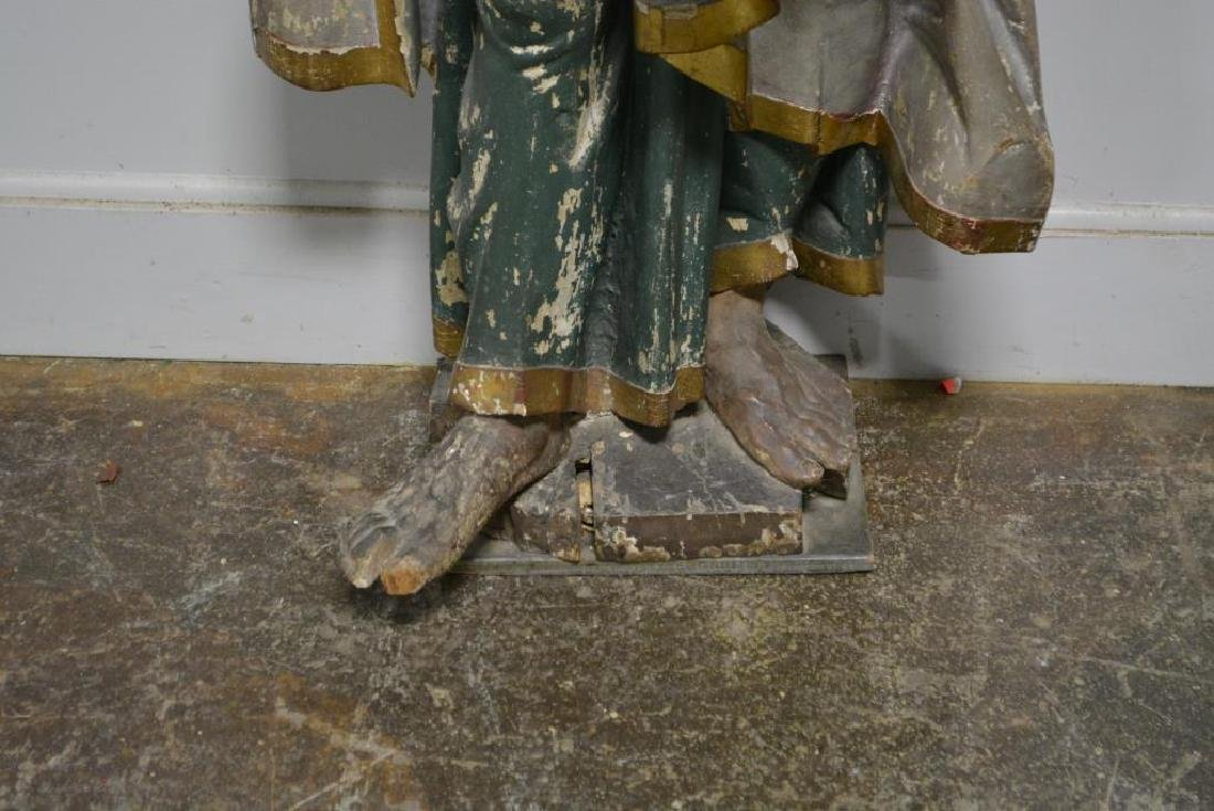 """Late 18th C. Wooden Religious Statue 52""""H,   22""""  x - 2"""