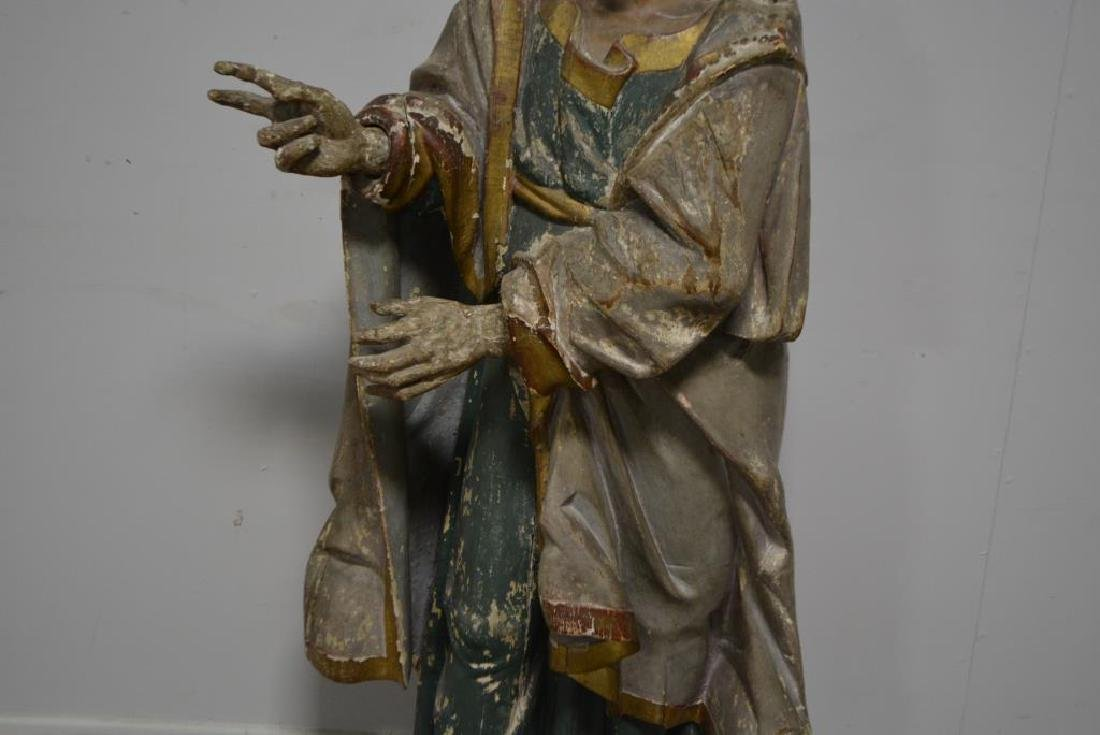 """Late 18th C. Wooden Religious Statue 52""""H,   22""""  x - 3"""