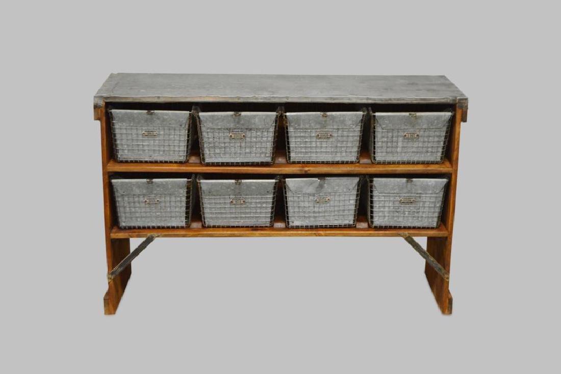 "Industrial Locker Basket Unit w/ Zinc Top 33 1/4""H,"