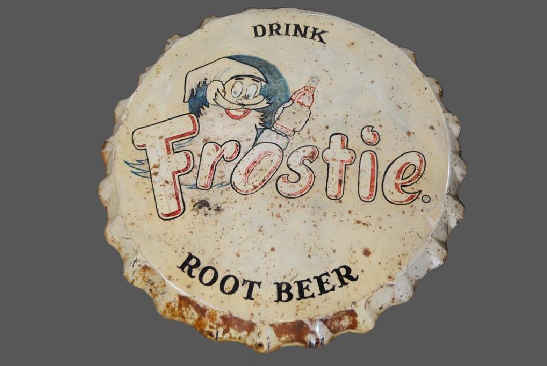 """Frostie Root Beer Bottle Cap Sign   -  metal 39"""" diam."""