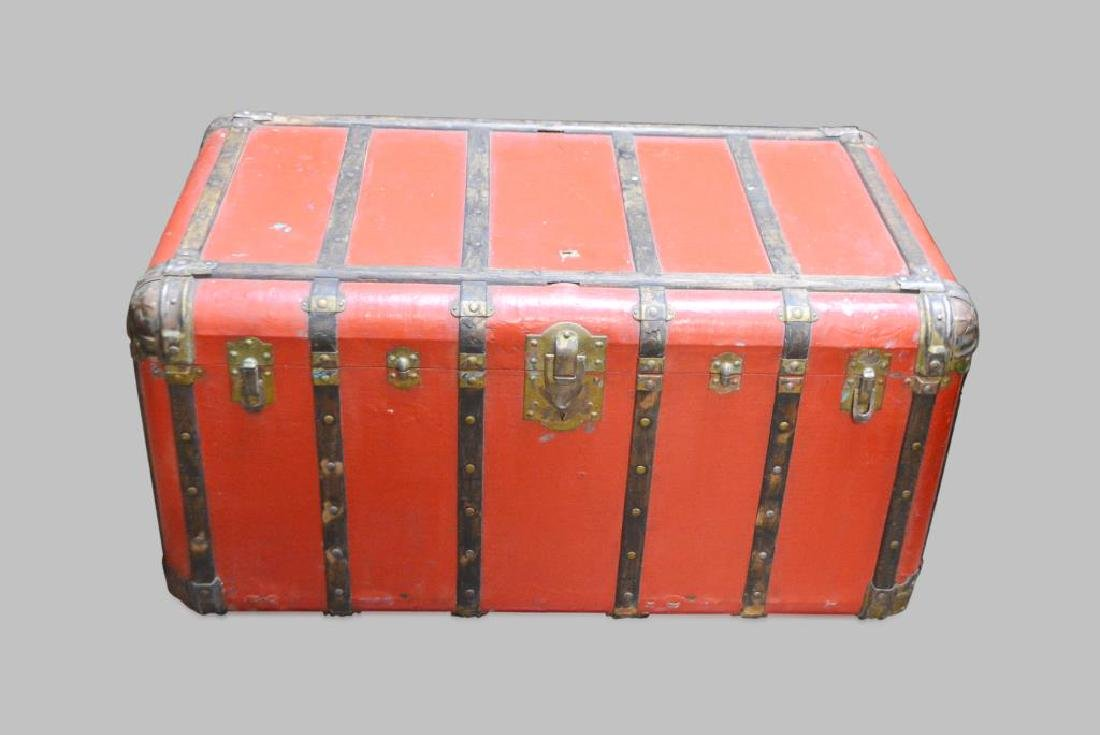 """Red Stagecoach Trunk 20""""H,   41 1/4""""  x   23 1/2"""""""